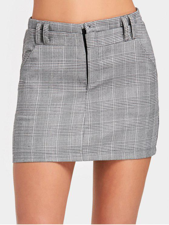 lady High Waist Checked Mini Skirt - CHECKED M