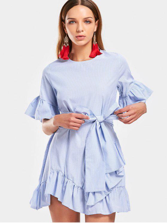 Vestido Curto Listrado Manga e Barra Com Babado - Azul claro S