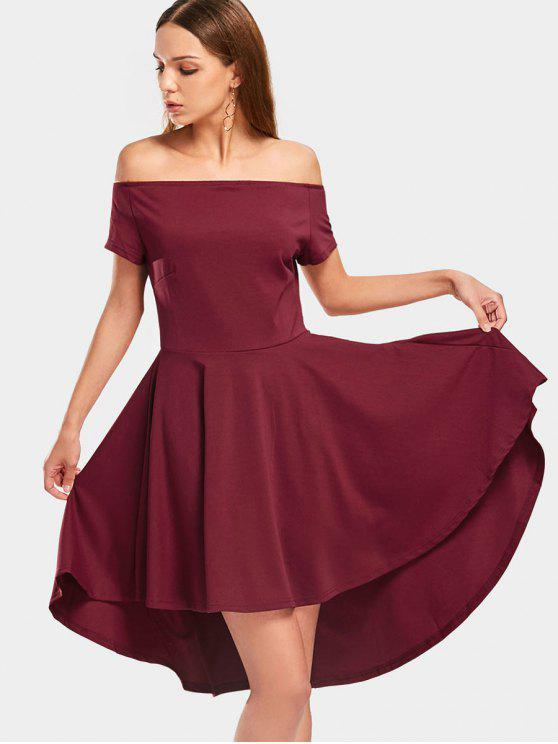 outfit Off The Shoulder Plain High Low Dress - DEEP RED 2XL