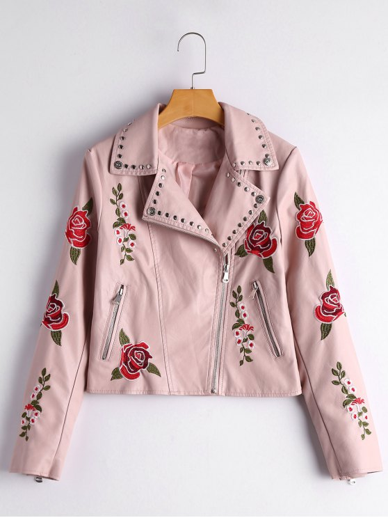 outfit Floral Patched Rivet Embellished Faux Leather Jacket - LIGHT PINK M
