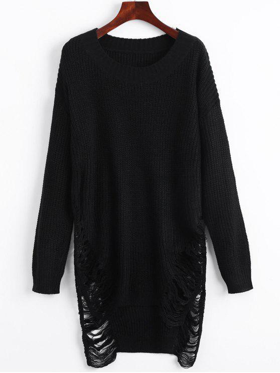 women's Distressed Mini Sweater Dress - BLACK S