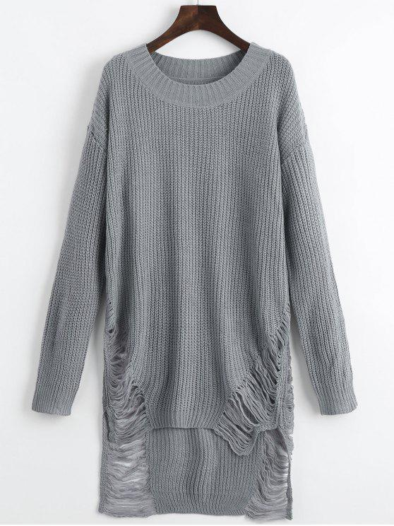 fashion Distressed Mini Sweater Dress - GRAY L