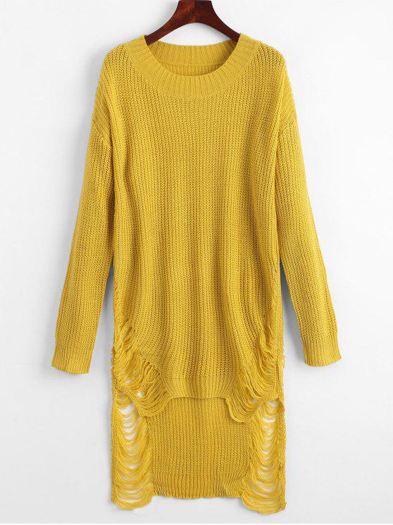 best Distressed Mini Sweater Dress - YELLOW L
