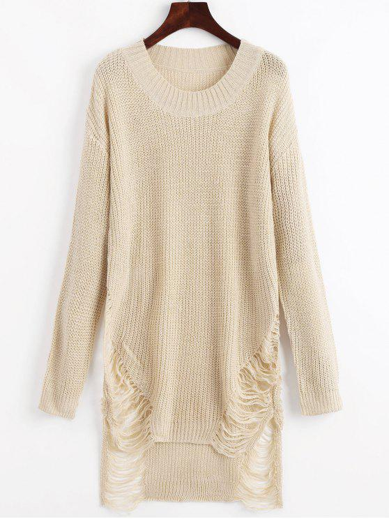 outfits Distressed Mini Sweater Dress - BEIGE M