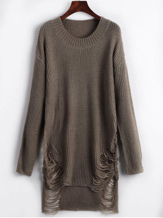 womens Distressed Mini Sweater Dress - BROWN M