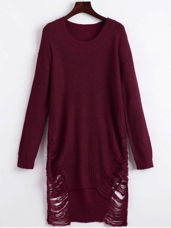 Zerrissenes Mini Pullover Kleid - Weinrot M