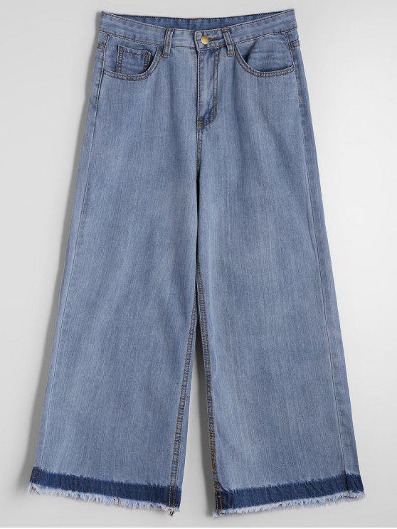 ladies Ninth Belted Wide Leg Jeans - DENIM BLUE M