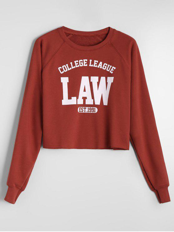 Camiseta de la letra de la manga del raglán - Rojo ladrillo M