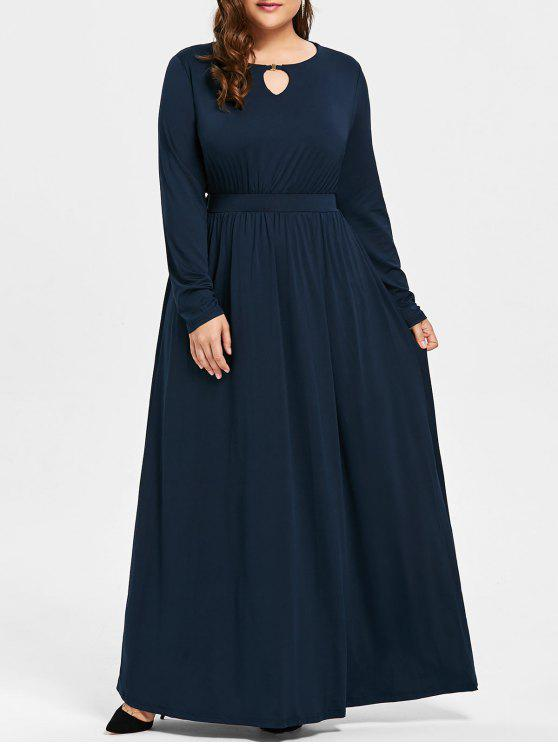 Robe Longue Grande Taille à Forure - Bleu Violet 3XL