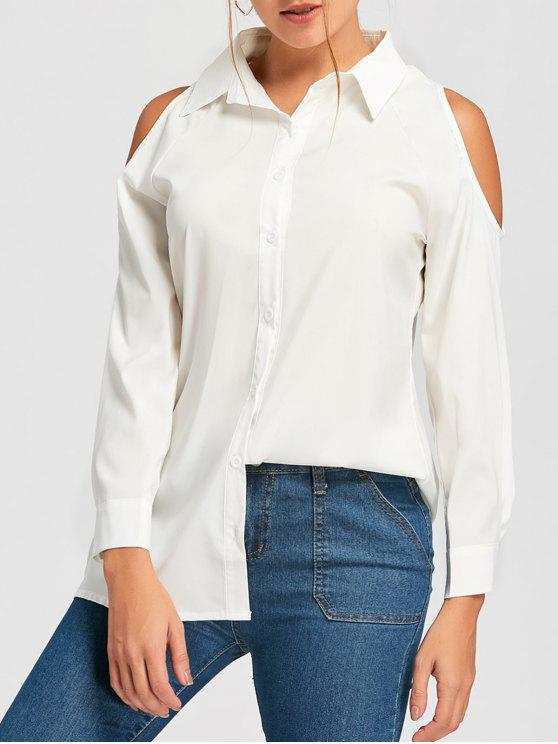 new Cold Shoulder Button Down Tunic Shirt - WHITE L