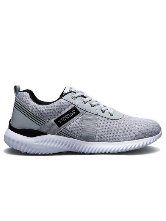 شبكة تنفس الدانتيل يصل أحذية رياضية - الرمادي العميق 43