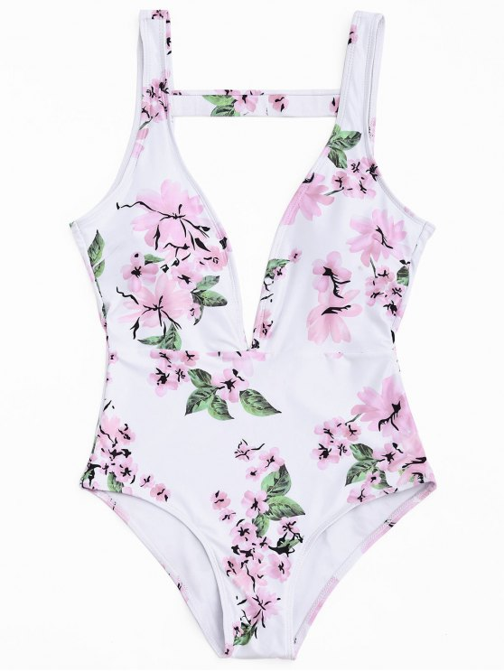 online Cut Out Floral One Piece Swimsuit - WHITE S