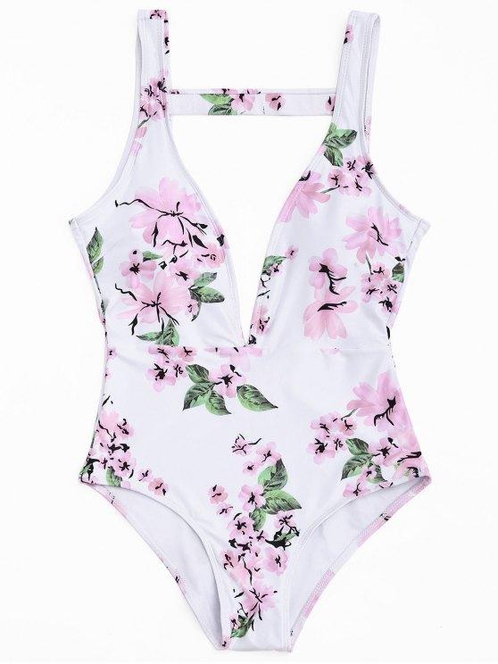 Floral Einteiler Badeanzug ausschneiden - Weiß S