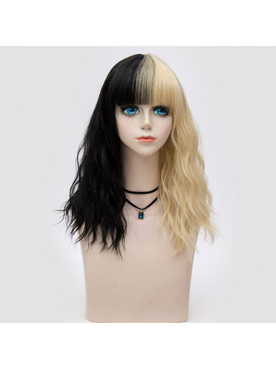 Medio completo Bang dos tonos onda natural peluca sintética partido - Negro y Dorado