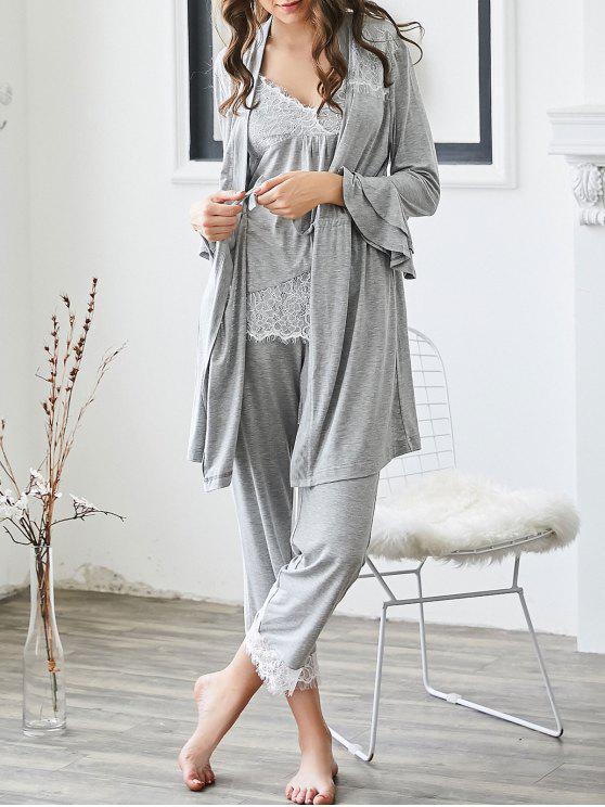 Loungewear Lace Trim Cami Top mit Hosen mit Kimono - Grau L