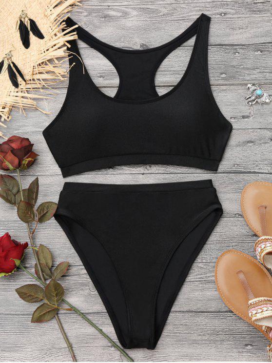 affordable Shiny High Cut Racerback Sporty Bikini - BLACK M