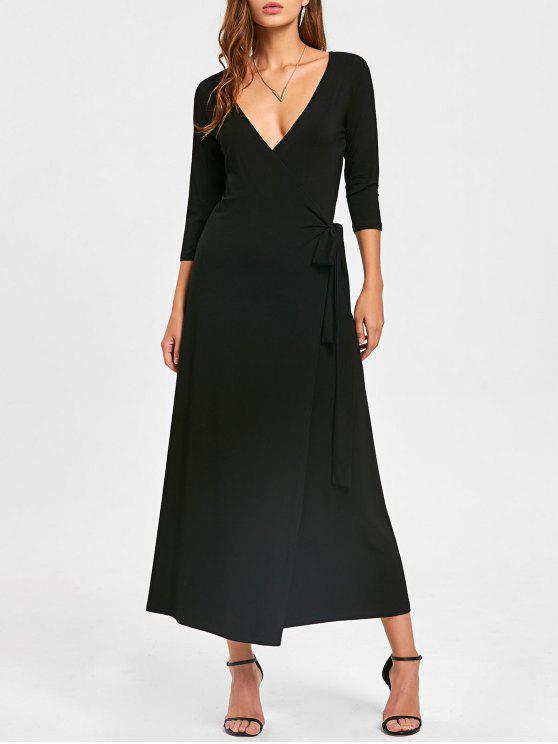 latest Plunging Neck Mid-calf Wrap Dress - BLACK M