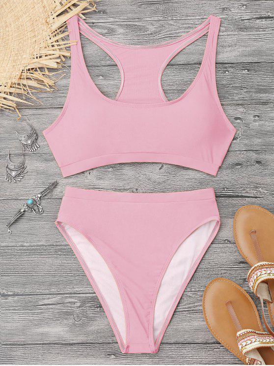 Bikini Sportif à Dos Nageur à Coupe Haute - Rose  S