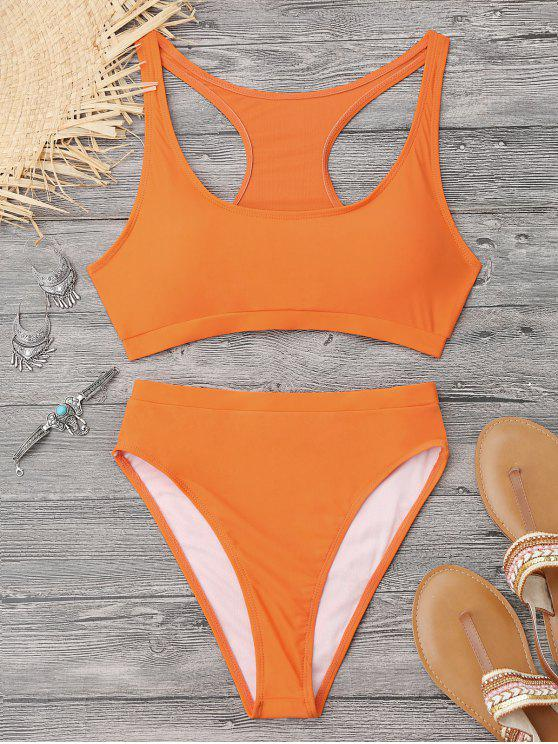 latest High Cut Racerback Sporty Bikini - ORANGE S