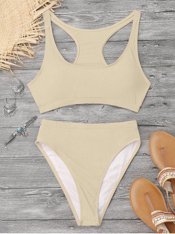 hot High Cut Racerback Sporty Bikini - YELLOWISH PINK M