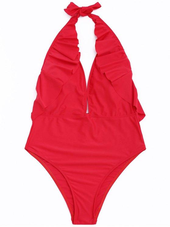 Frilled Halter One Piece Swimsuit - Vermelho S