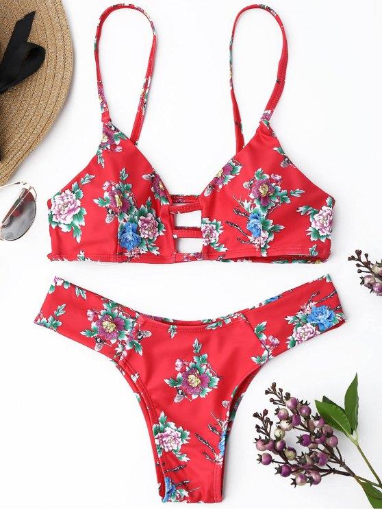 Strappy Floral Thong Bikini Set - Vermelho S