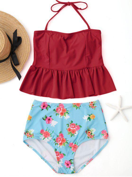 Conjunto de Tankini de cintura alta Peplum con volantes florales - Rojo M