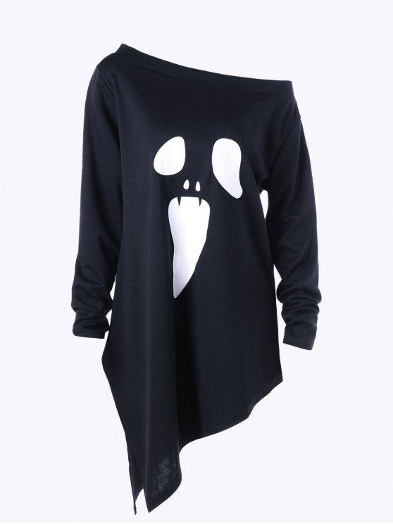 Halloween Übergröße Rundhalsausschnitt Grafik Asymmetrisches Sweatshirt - Schwarz 5XL