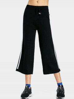 Jersey Knit Striped Wide Leg Pants - Black