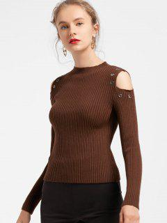 Metallic Rings Ribbed Cold Shoulder Knitwear - Coffee
