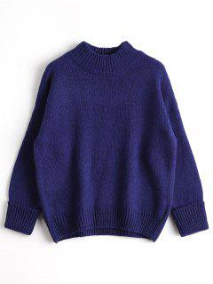 Loose Heathered Mock Neck Sweater - Blue