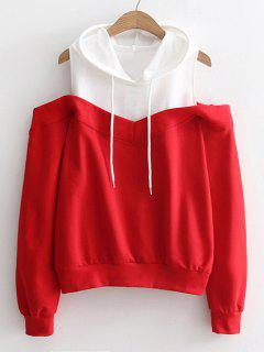 Two Tone Cold Shoulder Hoodie - Red