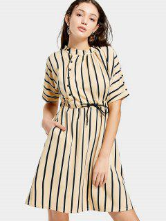 Half Sleeve Drawstring Striped Dress - Apricot M