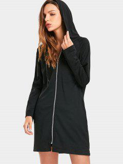 Zip Up Drawstring Longline Hoodie - Black Xl