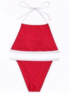 Contrast Trim High Neck Bikini Set - Red S