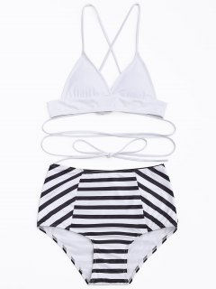 High Waisted Stripe Bikini Set - White And Black S
