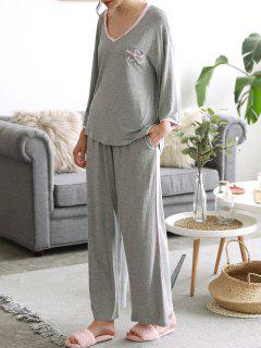 Cosy Loungewear High Low T-shirt With Pants - Gray Xl