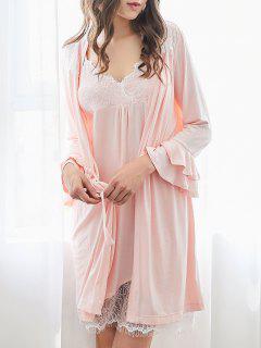Loungewear Cami Dress With Kimono - Pink 2xl