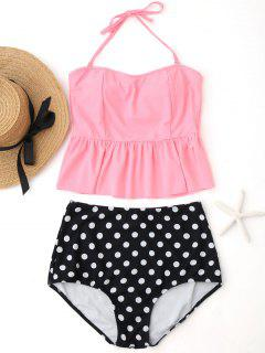 Polka Dot Peplum High Waisted Tankini Set - Pink M