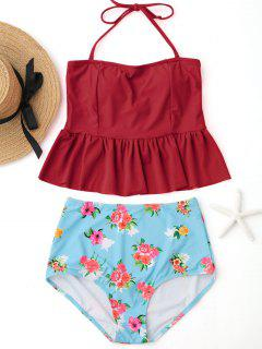 Ruffles Floral Peplum High Waisted Tankini Set - Red L