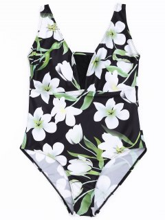 Plus Size Floral One Piece Swimsuit - Floral 4xl