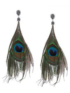 Rhinestone Statement Peacock Feather Earrings - Green