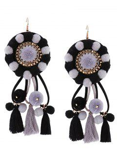 Rhinestone Tassel Floral Fuzzy Ball Earrings - Black