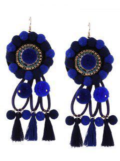 Rhinestone Tassel Floral Fuzzy Ball Earrings - Blue