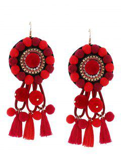Rhinestone Tassel Floral Fuzzy Ball Earrings - Red
