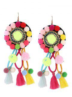 Rhinestone Tassel Floral Fuzzy Ball Earrings