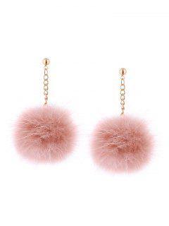 Fuzzy Ball Chain Drop Earrings - Pink