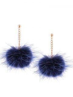 Fuzzy Ball Chain Drop Earrings - Navy Blue