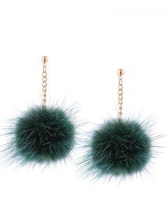 Fuzzy Ball Chain Drop Earrings - Green