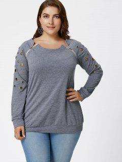 Plus Size Grommets Detail Sweatshirt - Gray 4xl